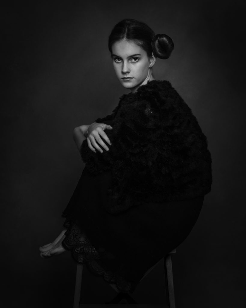 Fine Art Children Photography Black and white picture of a  Teenager girl